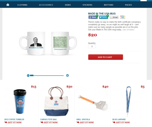 Obama for America | 2012 | Store | Made In The USA Mug - Accessories