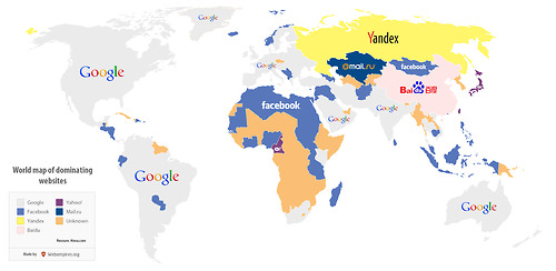 World map of the most visited websites