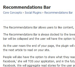 Recommendations Bar - Facebook開発者